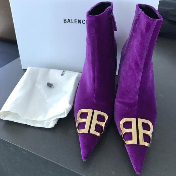 Balenciaga Bb Knife Boots Purple Velvet